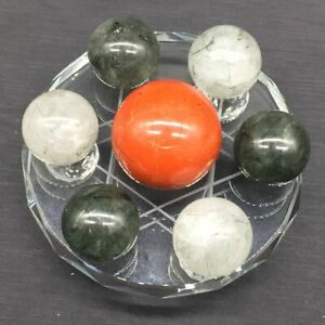 Natural-Red-Jasper-amp-Green-Crystal-7-Star-Group-Sphere-Ball-Healing-Glass-Stand