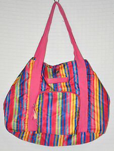 72c6910dc3 Image is loading TOMMY-Hilfiger-STRIPED-Lightweight-BEACH-Tote-GYM-Bag-""