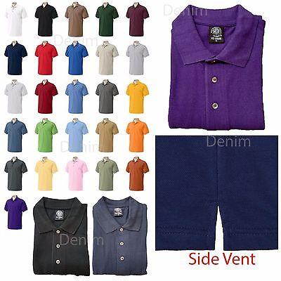 Men's 100% Preshrunk Cotton Short Sleeve Pique Polo Shirt With Side Vent S~5XL
