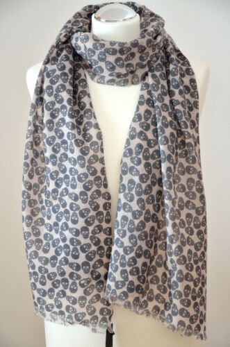 Schal Tuch aus 100/% Wolle Merinowolle rose grau ca.65x200cm