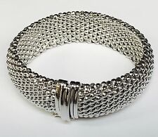 925 sterling silver ITALIAN popcorn mesh domed bangle bracelet 34 gr 18MM 7.5""