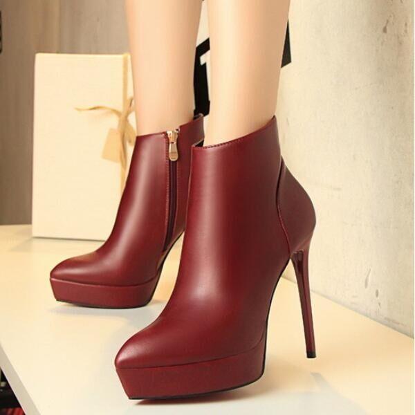 stivali stivaletti scarpe stiletto bassi stiletti 12 cm rosso simil pelle CW737