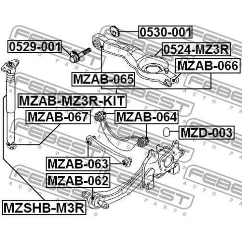 FEBEST Control Arm-//Trailing Arm Bush MZAB-064