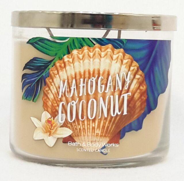 1 Bath & Body Works MAHOGANY COCONUT 3-Wick Scented Wax