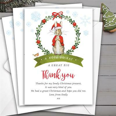 Christmas Thank You Cards.10 Personalised Peter Rabbit Christmas Thank You Cards Notes Xmas Ebay