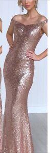 Gorgeous-Sequins-Dress-Size-14-Ball-Gown-Wedding-Formal-Bridesmaid-Evening-Wear