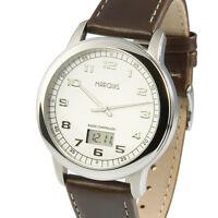 Elegante Herren Funkuhr (deutsches Funkwerk) Edelstahl Armbanduhr Leder 964.4902