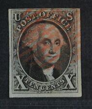 CKStamps: US Stamps Collection Scott#2 10c Used Corner Light Crease Signed
