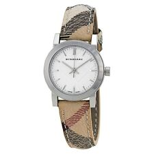 New Authentic Swiss Made Burberry Haymarket Check Leather Strap Watch BU9222