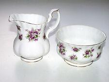 Antique 1890s Royal Albert England Sweet Violets Bone China Creamer & Sugar Bowl