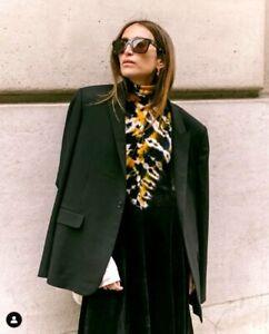 1250-Proenza-Schouler-NEW-Yellow-Black-White-Tie-Dye-Turtleneck-Jersey-Dress-S