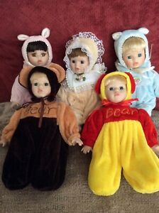 """Lot Of Five Vintage Porcelain Dolls 7"""" Wire Moving Stuffed Body"""