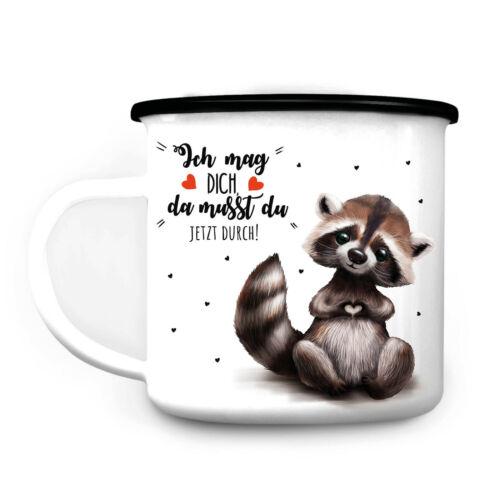 SMALTO CAMPEGGIO TAZZA procione tu mi piaci frase regalo tazza di caffè Tazza
