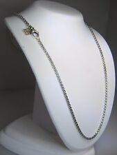 DAVID YURMAN 2.7MM WIDE BOX CHAIN STERLING SILVER & 14K DY TAG 18 INCH NECKLACE