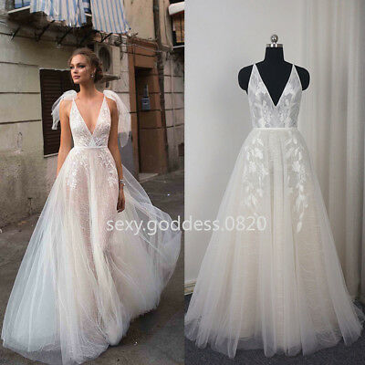 White Ivory Bohemian Beach Wedding Dress Appliques A Line Summer Bridal Gowns 6404692352630 Ebay