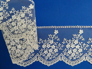 """The Place For Lace Premium White Embroidered Tulle Lace Trim 7/""""//18cm PER METRE"""