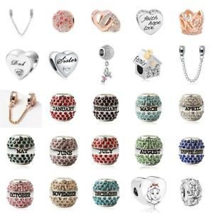 European-Silver-Charms-Birthday-Beads-Enamel-Gifts-CZ-Pendant-Fit-925-Bracelets