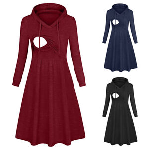 New-Autumn-Women-Maternity-Nursing-Casual-Tunic-Solid-Hooded-Long-Sleeve-Dress