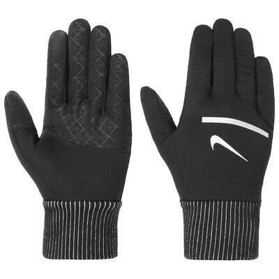 Nike Men,s Dri Fit Sphere Running Gloves Black Silver Touch Screen Compatible