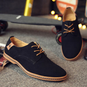 Men-039-s-Suede-Business-Oxfords-Leather-Shoes-Casual-Lace-Up-Flats-Dress-Loafers