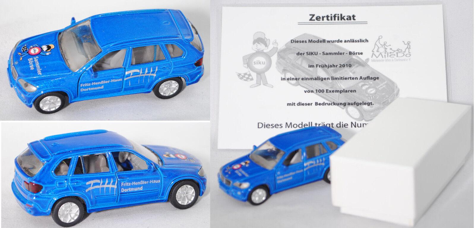 Siku Super 1432 bmw x5 azul metalizado fhh fhh fhh Dortmund coleccionista bolsa werbebox 7802e6
