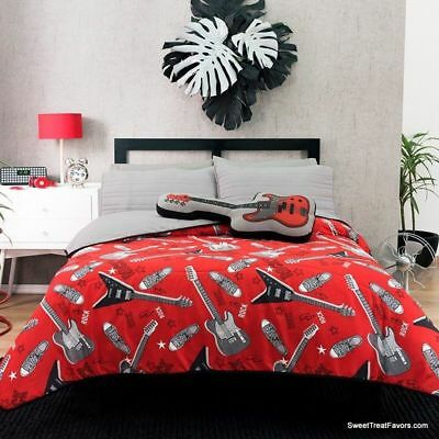 ROCKSTAR Comforter Bedding Light Guitar QUEEN BLACK Reversible Gift 40PC Music NW EBay Interesting Rockstar Bedroom Model