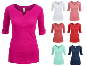 Women-039-s-Basic-Soft-Cotton-Stretch-3-4-Sleeve-V-Neck-T-Shirt-Top-Solid-Colors