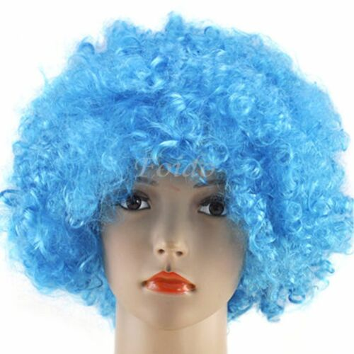Unisex Coloured CURLY AFRO FANCY DRESS WIGS PARTY DISCO CLOWN STYLE 70s