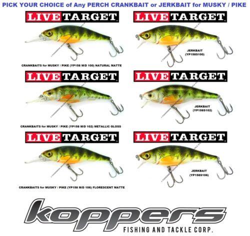 Koppers Live Target Yellow Perch Crankbait Jerkbait 4.75 YP115 Walleye Pike Bass