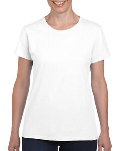 WHITE-LADIES-HEAVY-COTTON-T-SHIRT-Gildan-100-Cotton-Womens-Female-TEE