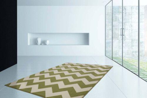 Teppich Modern Flachflor ZickZack Chevron Design Grün Creme Wohnzimmer