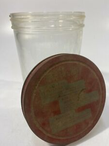 "Vintage For Variety Salad Dressing 1.5-2 Quart Screw Top Metal Lid Jar 7"" Tall"