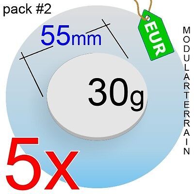 5x 2mm CLEAR ACRYLIC 65mm ROUND BASE CIRCLE DISC TRANSPARENT SOCLE WAR HAMMER