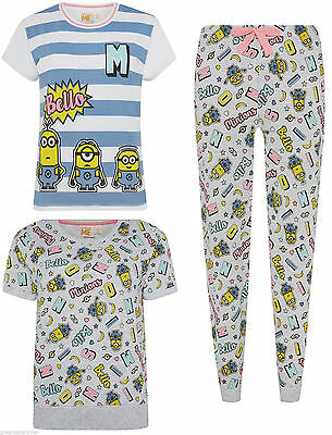 Primark Ladies Womens Minions Bello Pyjamas Pj Pieces T-shirt, Pants, Sweat Top Hell In Farbe