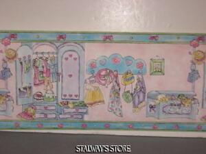 Waverly-Kids-Girls-Dress-Up-Pink-Blue-Green-Bows-Flowers-Wallpaper-Border-10-Yds
