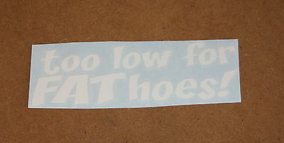NEW Too Low For Fat Hoes Decal Funny JDM Import Drift