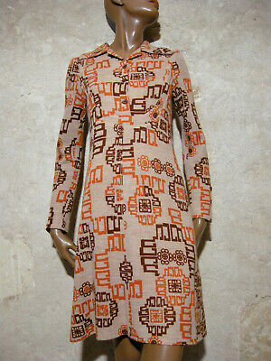 Candido Chic Vintage Robe Annees 60 True Vtg Dress 60s Mod Graphic Kleid Abito ( 36/38 ) Con Metodi Tradizionali