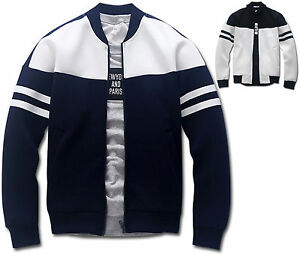 Mens-Slim-Fit-Armband-Baseball-Jumper-Blouson-Jacket-Blazer-Outwear-Top-W018-S-M