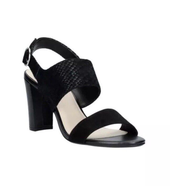 New Clarks(size 5 Uk) Ladies Blacks Suede Leather Sandals Padella Tullip