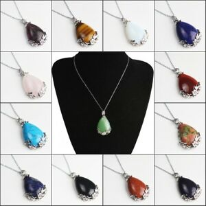 Natural-Gemstones-Teardrop-Silver-Flower-Reiki-Chakra-Pendant-Chain-Necklace