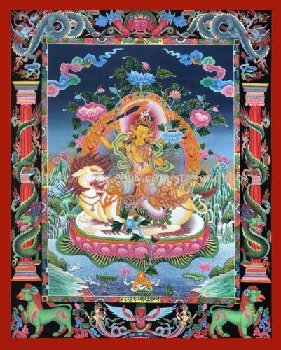 Божество дюймовая Бодхисаттвы мудрости лев тибетская танка бумага Настенный плакат