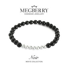 MEGBERRY Mens Beaded Bracelet - Black Onyx & 925 Sterling Silver - Custom Size