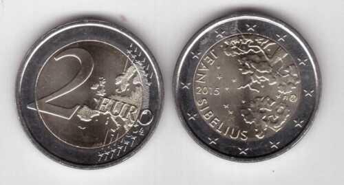 NEW ISSUE BIMETAL 2 EURO UNC COIN 2015 YEAR JEAN SIBELIUS FINLAND