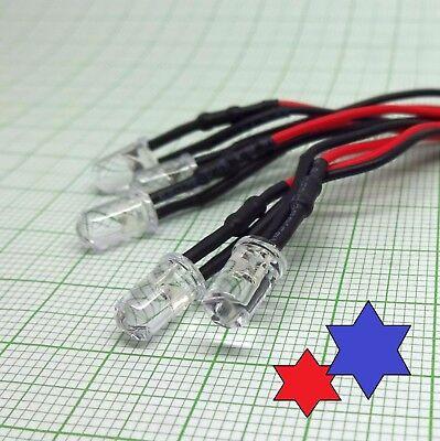 S598-5 Stück LED 2mm rot mit Kabel für 12-19V fertig verkabelt Tower LEDs
