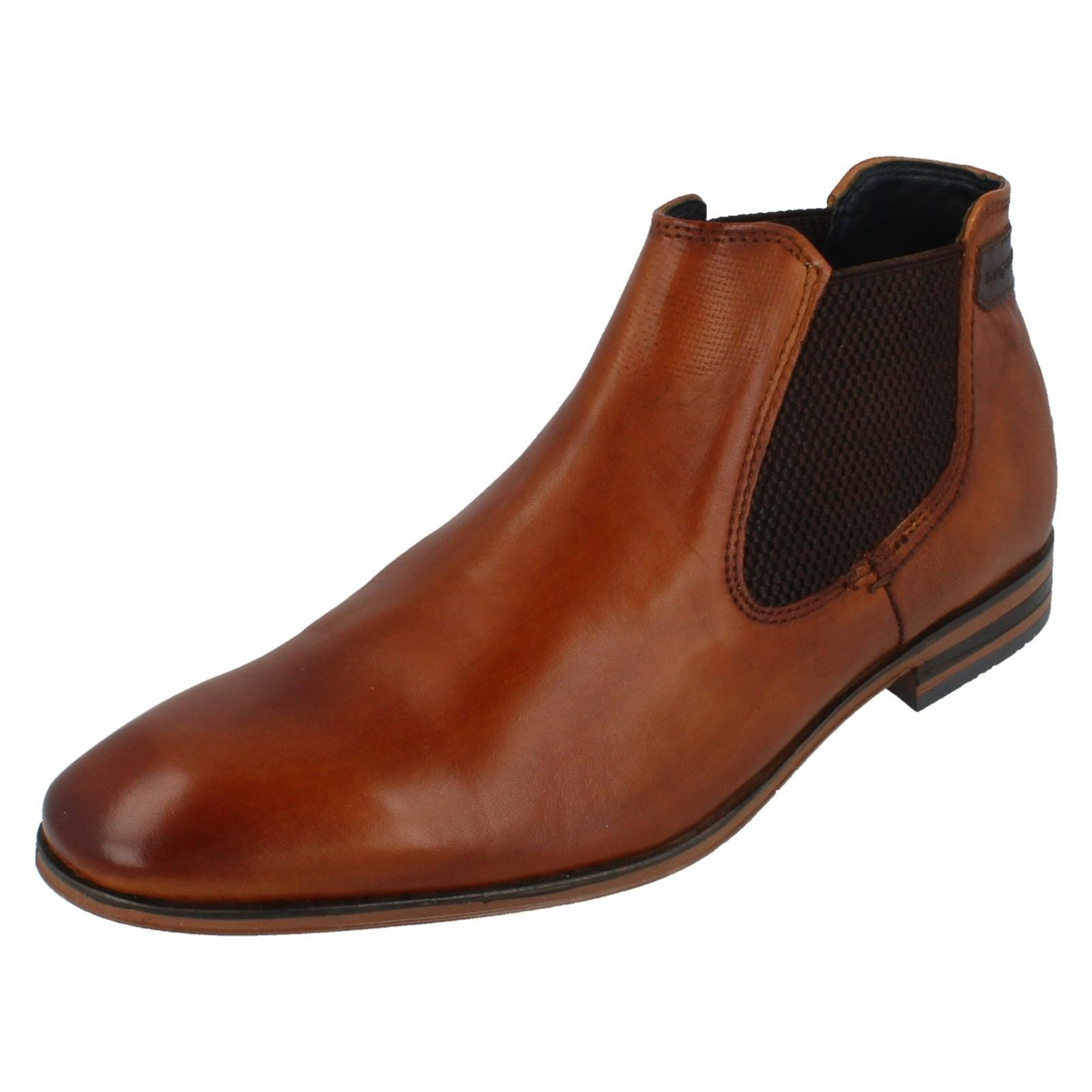 MENS BUGATTI TWIN GUSSET LEATHER ANKLE BOOT 311-10120 4100