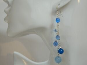 Vintage-Blue-Glass-Crystal-amp-Sterling-Silver-Alex-Polizzi-Style-Long-Earrings