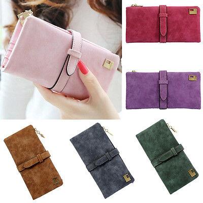 Fashion Women PU Leather Wallet Drawstring Clutch Purse Lady Long Handbag Bag