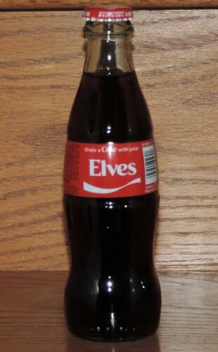 """LE USA HOLIDAY 2015 COCA-COLA /""""SHARE A COKE w//YOUR ELVES/"""" 8 oz FULL GLASS BOTTLE"""