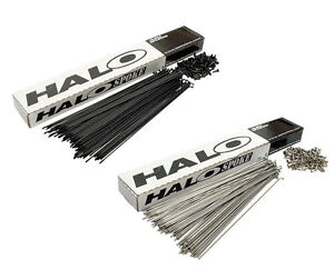 36-Halo-MTB-Road-Spokes-2mm-Black-or-Silver-Stainless-with-Nipples-12mm