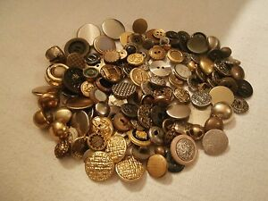 Variety-Of-100-Plus-Very-Beautiful-Buttons-Mostly-Metal-For-Clothing-Or-Crafts